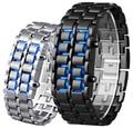 Classic Sport Fashion Men Women Lava Iron Samurai Metal Blue Red LED Faceless Bracelet Watch Stainless Watches for Women