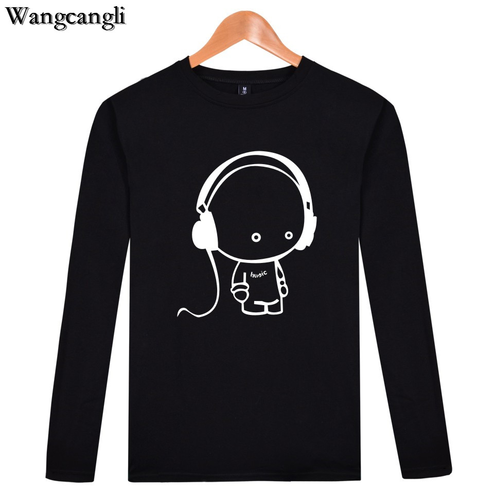 wangcangli New Fashion Hot Sale Clothing Music Boy T-shirt Men / Women T-shirt with printed Long Sleeve T-Shirt Plus Size 4XL