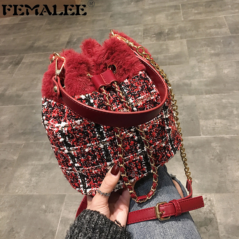 FEMALEE High Qulity PU Leather Faux Fur Patchwork Womens Handbag New Fashionable Bucket Bag Tweed Messenger Bags Wool HandbagsFEMALEE High Qulity PU Leather Faux Fur Patchwork Womens Handbag New Fashionable Bucket Bag Tweed Messenger Bags Wool Handbags