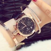 Luxury Trendy GUOU Fashion Casual Women Watches 3 Eyes Calendar Leather Hardlex Face Ladies Dress Watch Wristwatch Clock Hours