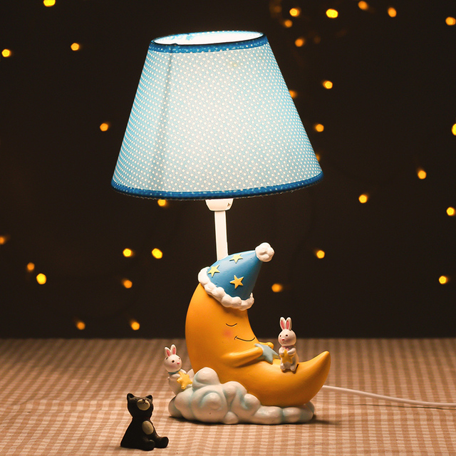 Lovely Animals And Sleeping Moon Cartoon Cute Children Room Desktop Night Lights Kids Table Lamp