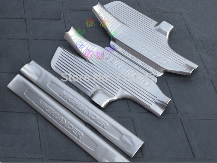 ФОТО High quality stainless steel inside external Scuff Plate/Door Sill For 2015 Toyota Highlander 4pcs
