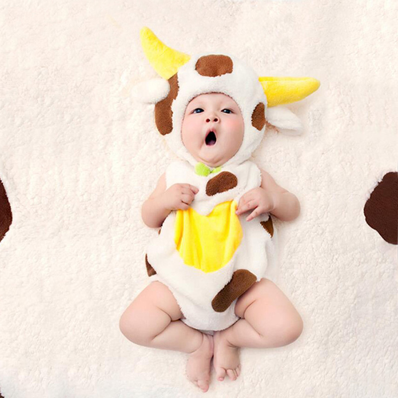 Newborn Baby Photography Cute Cows Hat+Romper+Pillow+Blanket Props Outfits Infant Baby Boys Girls Flannel fotografia Accessorie ...