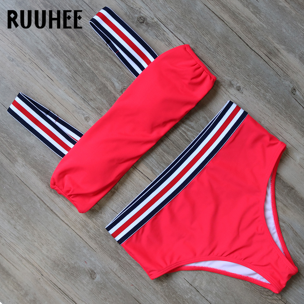RUUHEE Bikini Swimwear Women Swimsuit Bathing Suit High Waist Bikini Set 2018 Vintage Striped Female Beachwear Swimming Suit ruuhee 2017 swimwear women swimsuit sexy bikini low waist bathing suit bikini set metal color female thong beachwear with pad