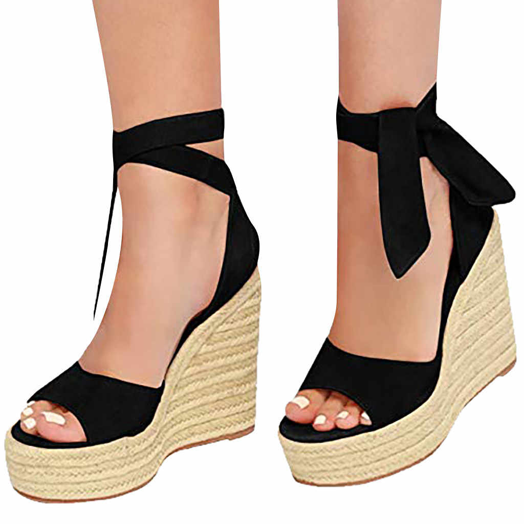 Summer Wedges Shoes For Women Sandals Thick Bottom Ankle Lace-Up Ladies Round Toe Beach Shoes Roman Sandals Chaussure Femme