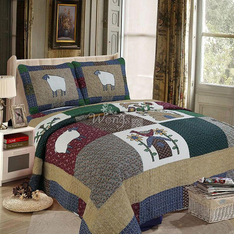 colcha de patchwork multicolor ovejas colcha algodn edredones colchas queen size con fundas de
