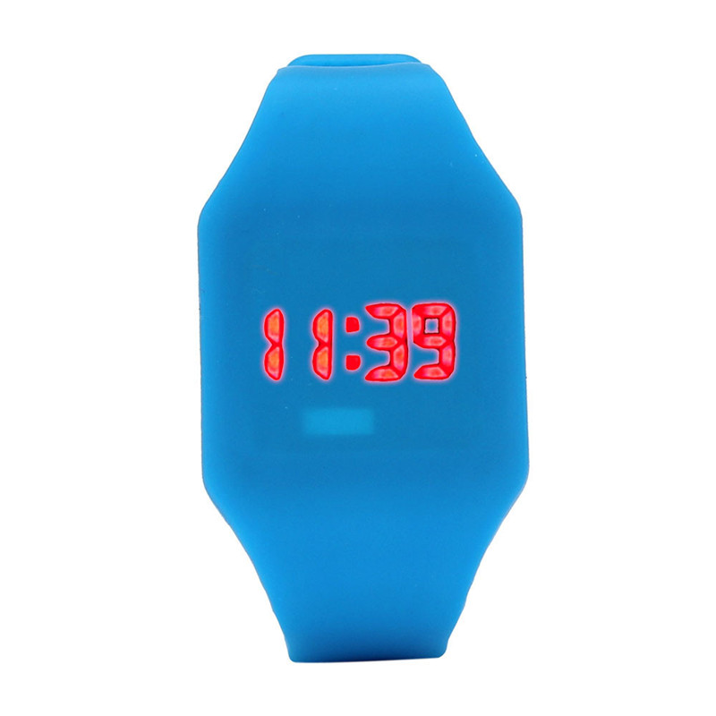 blue shope #4002 Mens Womens Silicone LED Watch Sports Bracelet Digital Wrist Watch