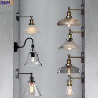 IWHD Glass Style Loft Industrial Wall Light Up Down Home Lighting Fixtures Retro Arm Wall Lamp Black Applique Luminaire