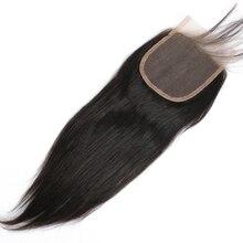 焼きストレートヘア閉鎖周り事前摘み取らライト焼き人毛閉鎖 Dolago ブラジルの Remy 毛