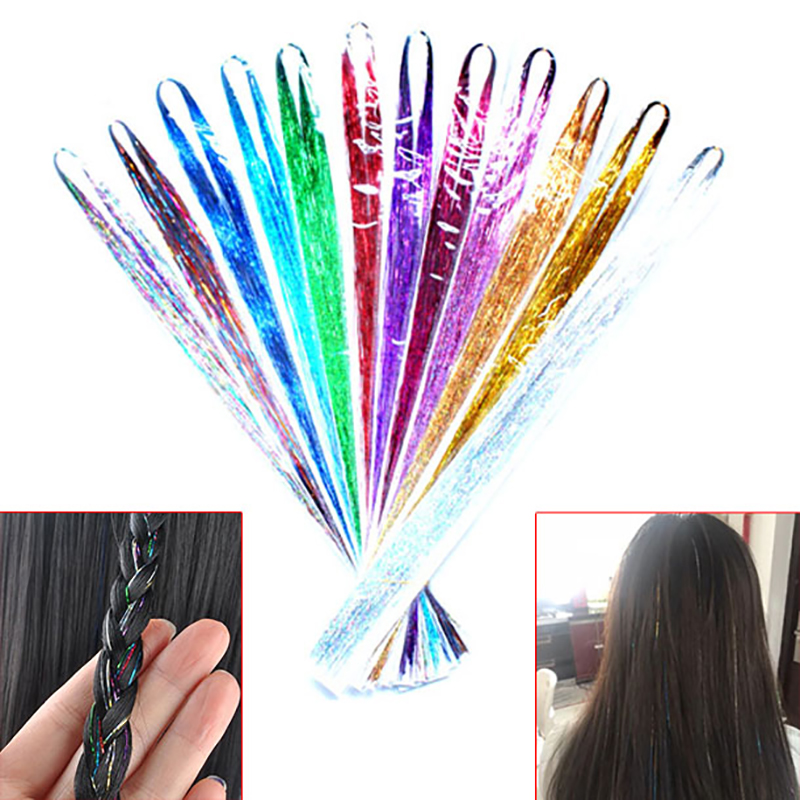 120Strands/pcs Sparkle Hair Tinsel Bling Hair Secoration For Synthetic Hair Extension Glitter Rainbow For Girls And Party 28inch