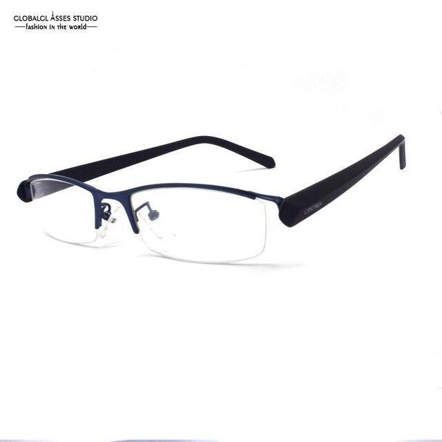 Half Rim Metal Glasses Horn Less Eyewear Men Blue Frame Black ...