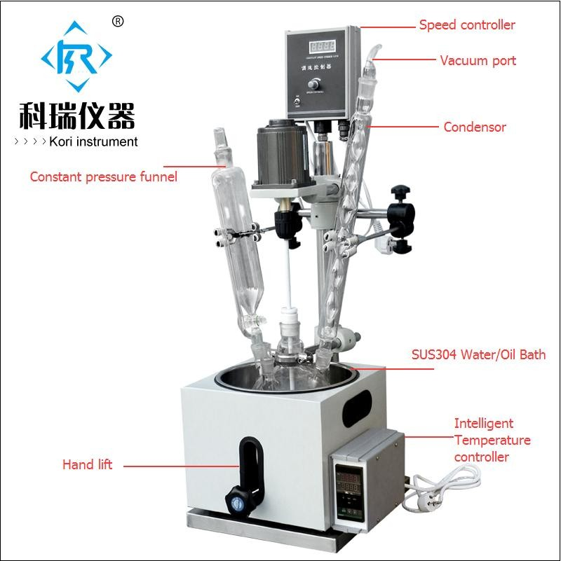 5L lab heating single layer glass reactor with water oil bath for vacuum distillation ce approved 5l lab glass vacuum reactors with intelligent temperature controller with condensor w sus304 heating bath for pilot