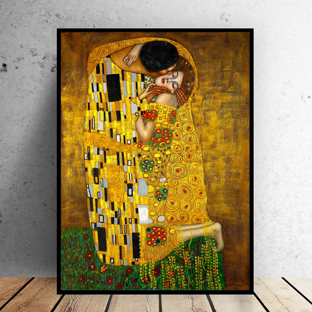 Gustav Klimt Kiss Paintings On The Wall Canvas Posters Print Clical Famous Art For Living Room