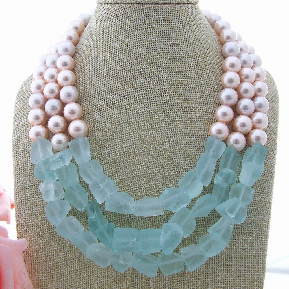 AB010104 1822'' 3 Strands Pink Sea Shell Pearl Blue Crystal Rough Necklace