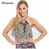 Misszonee Women Elegant Lace Crop Camis Top Summer Beach Backless Short Halter Sexy Party Gauze Metallic