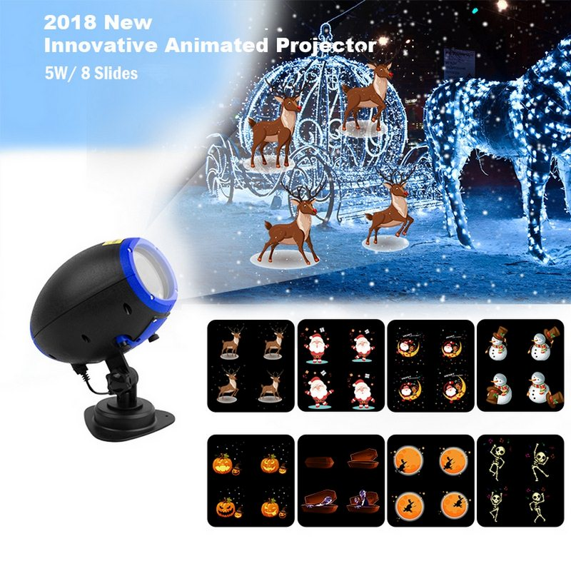 RC LED Projector Light Novelty Luminous Toy With 8 Film Cards  Halloween Christmas Animation Patterns Night Light Festival Light