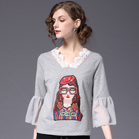 LIENZY 2018 Spring Embroidery Glasses Girl Lace T Shirt Ruffle Chiffon Sleeve Women Tops Summer Clothing