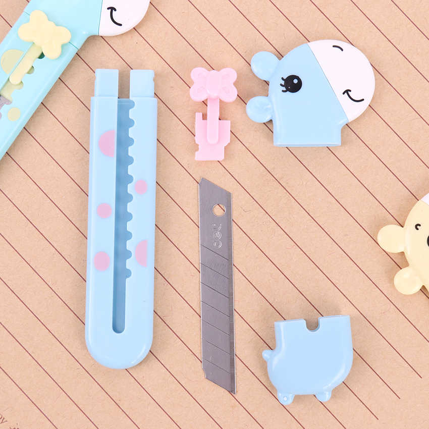 1PC ランダムラブリー小さなキリン紙切断ナイフボックスカッタープラスチックユーティリティナイフ