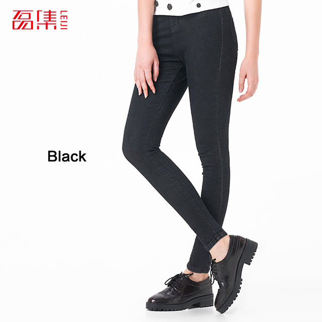 708142f8481 LEIJIJJEANS 2018 Hot Summer Fashion Plus Size Solid 4 Colors High Waist  Full Length Women Casual Stretch Skinny Pencil Jeans