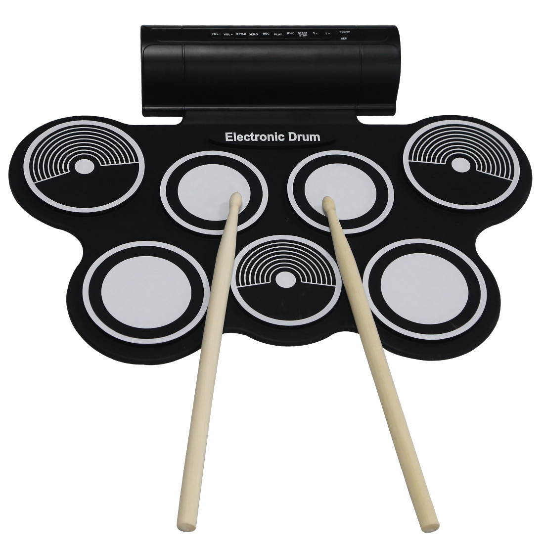 Hot Sale Portable Electronic Roll Up Drum Pad Kit USB MIDI Machine Silicone Percussion Instruments with Drumstick Foot Pedal