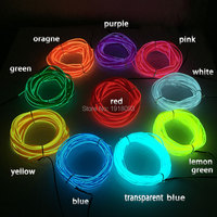 2.3mm skirt 10Meter 10Color Select LED Strip EL Wire Tube Rope Flexible Neon Light Car Inside Decoration by DC 5V USB Driver