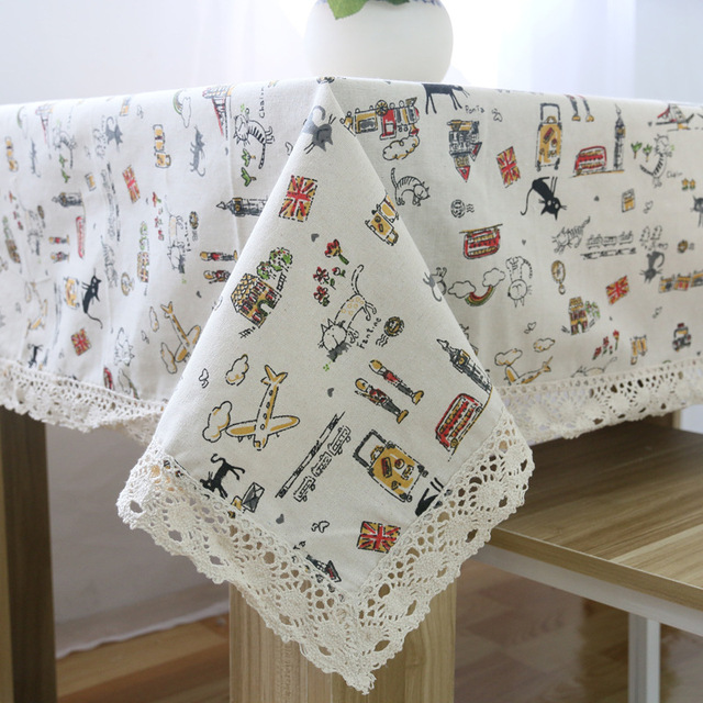 Cartoon Cat Elegant Tablecloths Korean Style Multi Function Dust Table  Cover High Quality Cotton Linen Rectangular