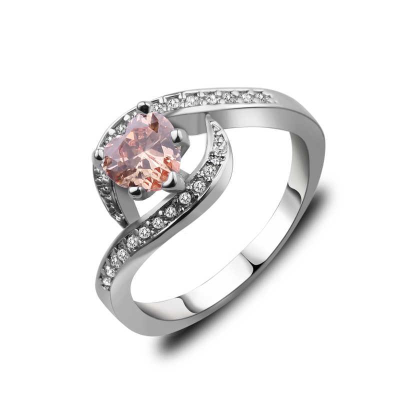Charm Multicolor หัวใจสีม่วง/ขาว/แชมเปญ Fire Heart แหวนผู้หญิง Vintage Fashion Rose Gold Filled Birthstone แหวน