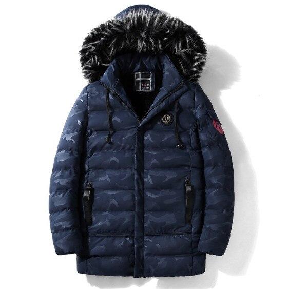 Camouflage Winter Jacket Men Parkas Faux Fur Hooded Mens Coats Warm Fleece Lined Outerwear Male Jackets Windbreaker Streetwear