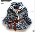 Fashion Europe and America major suit children clothing leopard grain fur coat for baby girls in autumn and winter
