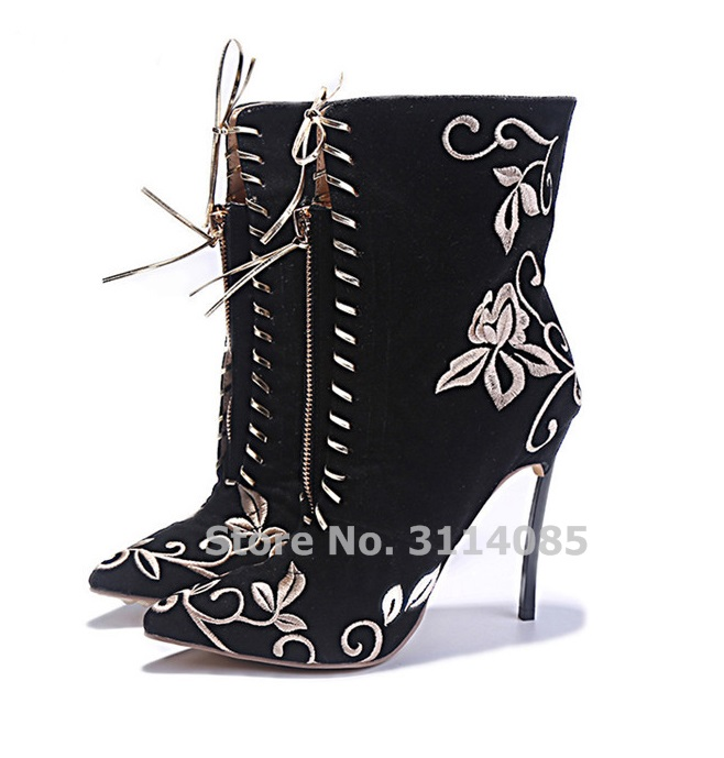 Women Lace-up Black Red Embroidered Boots Suede Pointed Toe Dress Boots Metal Thin High Heels Floral Banquet Shoes Gold Heels simple women s dolman sleeves floral embroidered dress