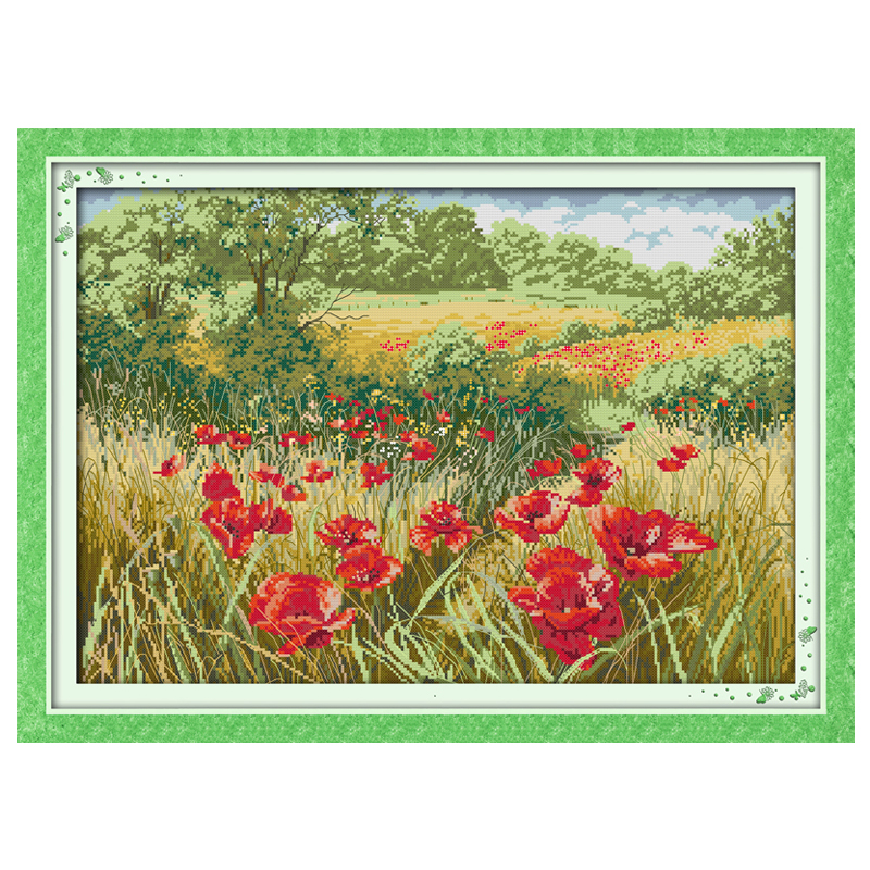 Beautiful Red Flowers (1) Counted Cross Stitch 11CT 14CT Cross Stitch Sets Chinese Cross-stitch Kits Embroidery NeedleworkBeautiful Red Flowers (1) Counted Cross Stitch 11CT 14CT Cross Stitch Sets Chinese Cross-stitch Kits Embroidery Needlework
