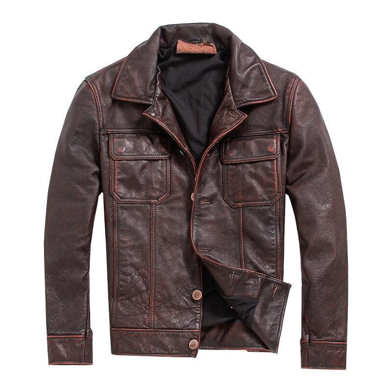 จัดส่งฟรี. vintage Brown mens coat,ผู้ชาย cowhide แจ็คเก็ต,เสื้อหนังแท้สไตล์สบายๆฟิตเนส plus ขนาดหนัง-ใน เสื้อโค้ทหนังแท้ จาก เสื้อผ้าผู้ชาย บน   1