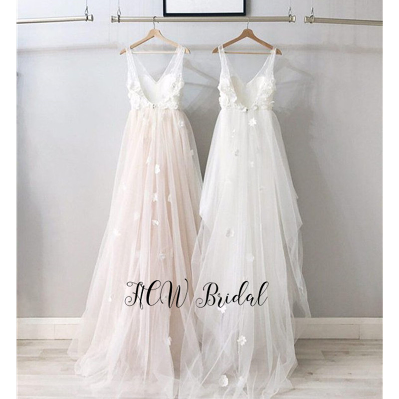 White Ivory Lace Tulle Backless   Evening     Dress   2019 Newest A Line V Neck Floor Length Long Prom Gowns Vestido De Festa Cheap