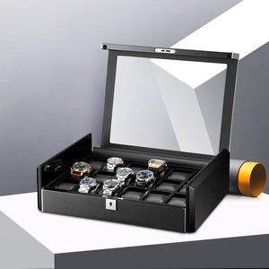 Image 3 - תיבת יוקרה שחור פחמן סיבי משטח רך גמיש שעון כריות עץ מתנת תיבת שעון