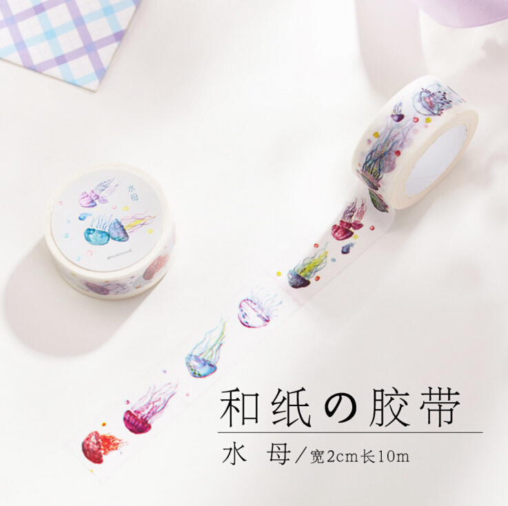 JC204  2CM Wide Cute Colorful Jellyfish Washi Tape Adhesive Tape DIY Scrapbooking Sticker Label Masking Tape jellyfish jellyfish spilt milk deluxe edition 2 cd