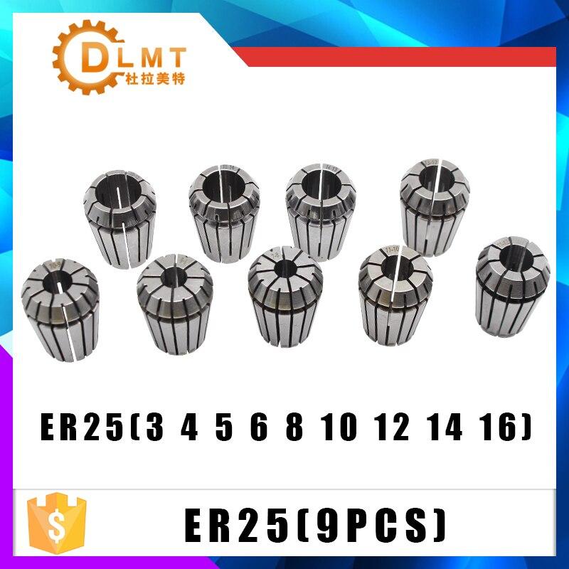 9pcs ER25 Spring Collets + 1PCS MT3 M12 ER25 Collet Chuck Morse Taper Holder For CNC Milling Lathe Tool