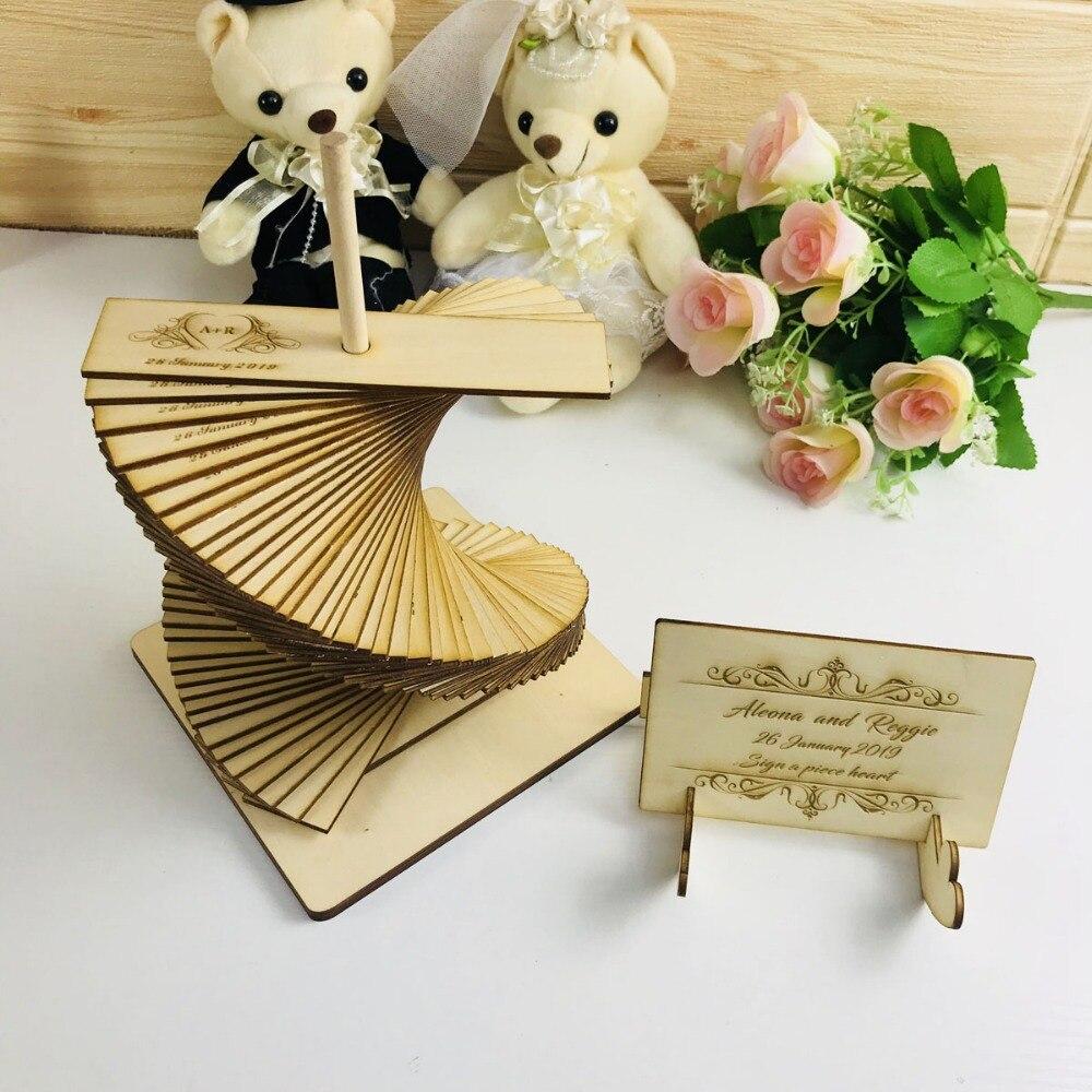 Livre d'invité de mariage personnalisé, Album de livre d'invité de mariage personnalisé, fournitures de décoration de mariage livre d'invité en bois personnalisé