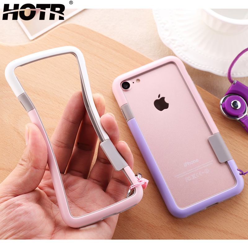 HOTR For iphone 8 Bumper Case for iphone 5 5s SE 6 7 8 9 plus X Xs Max XR Soft TPU Frame Case Cover Slim Fundas No handcord