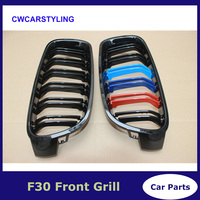 3 Series ABS Plastic dual slat M color Racing Grille Bumper Grill For BMW F30 316d 318i 320i 325d 328i 328d 330d 335i M Color