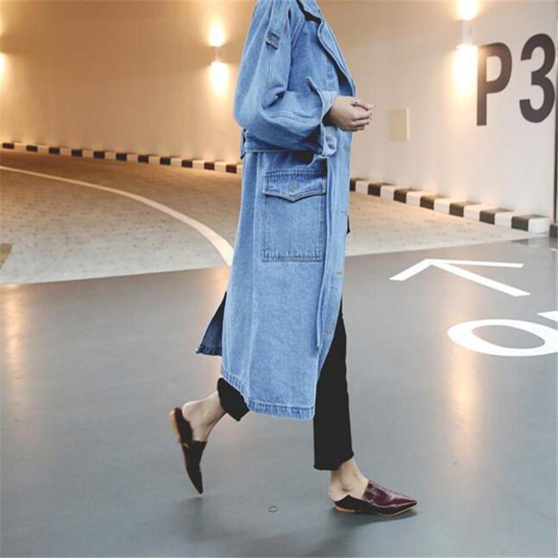 2019 Bahar Moda Kadınlar Denim Ceket Uzun Kollu Boy Uzun Jean Mont - Bayan Giyimi - Fotoğraf 3