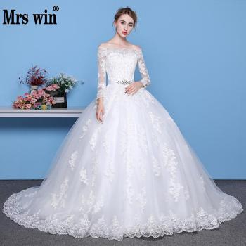 Mrs Win Long Sleeves Wedding Dresses 2021 Princess Lace Bridal Bride Gowns Luxury Vintage Off The Shoulder Robe De Mariage - discount item  20% OFF Wedding Dresses