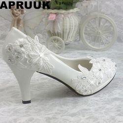 Plus la taille 40 41 mode dentelle chaussures de mariage blanc pour les femmes TG312 main de mariée chaussures confortable talon plates-formes mariées chaussures