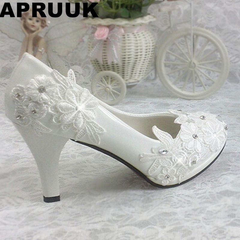 Plus size 40 41 fashion lace wedding shoes white for women TG312 handmade bridal shoe comfortable heel platforms brides shoe