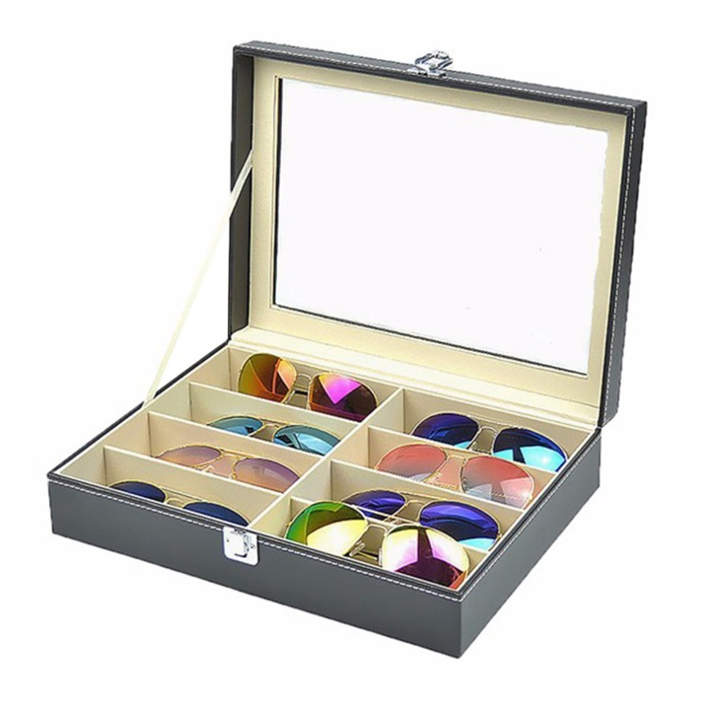 High Quality Leather 8 Grids Glasses Storage Box Men Women Sunglasses Case Jewelry Box Eyeglasses Display Organizer With Cover