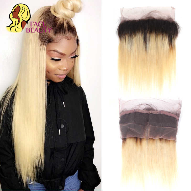 Facebeauty Lace Frontal 360 Closure Straight 1B 613 Ombre Blonde Brazilian Remy 100 Human Hair Hand Tied Full Preplucked Frontal