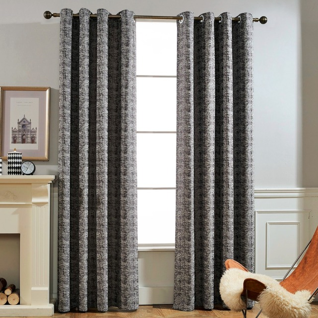 GIGIZAZA Black Jacquard Heavy High Blinds Ivory Grey Out Curtains For Living Room Decoration Drape