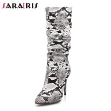 c9179682763 SARAIRIS Slouch Thigh High Boot Snake Skin mid calf Boots zip party Sexy High  Thin Heel Pleated Pointed Toe Botte Femme Talon