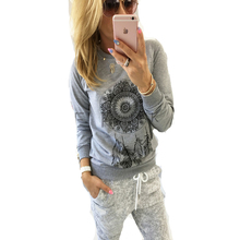 2017 New Womens Autumn Long Sleeve Hoodie Sweatshirt Print Casual Hooded Coat Pullover(China)
