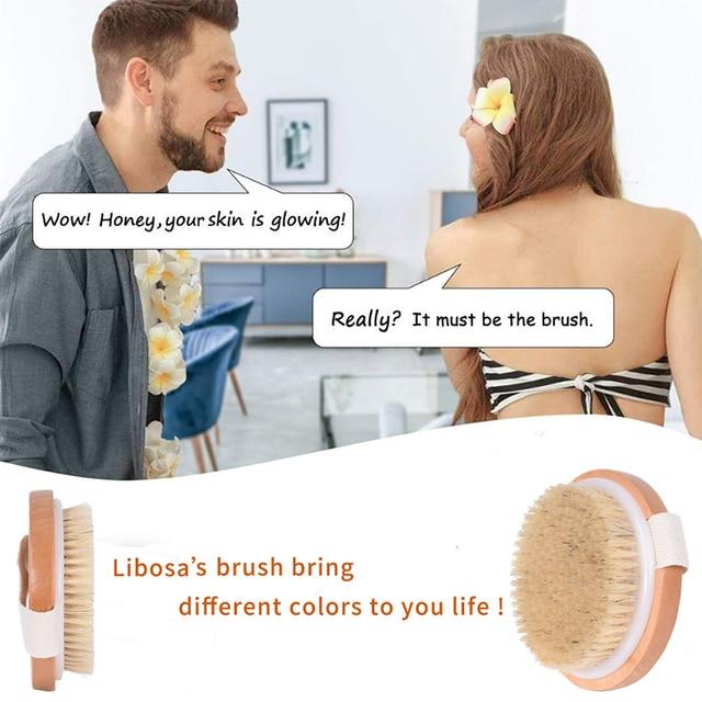 TREESMILE Natural bristles Bath brush Body Maasage No Handle Bath Brush Body Exfoliating SPA Hot Dry Skin Body Wooden Dry Brush 6