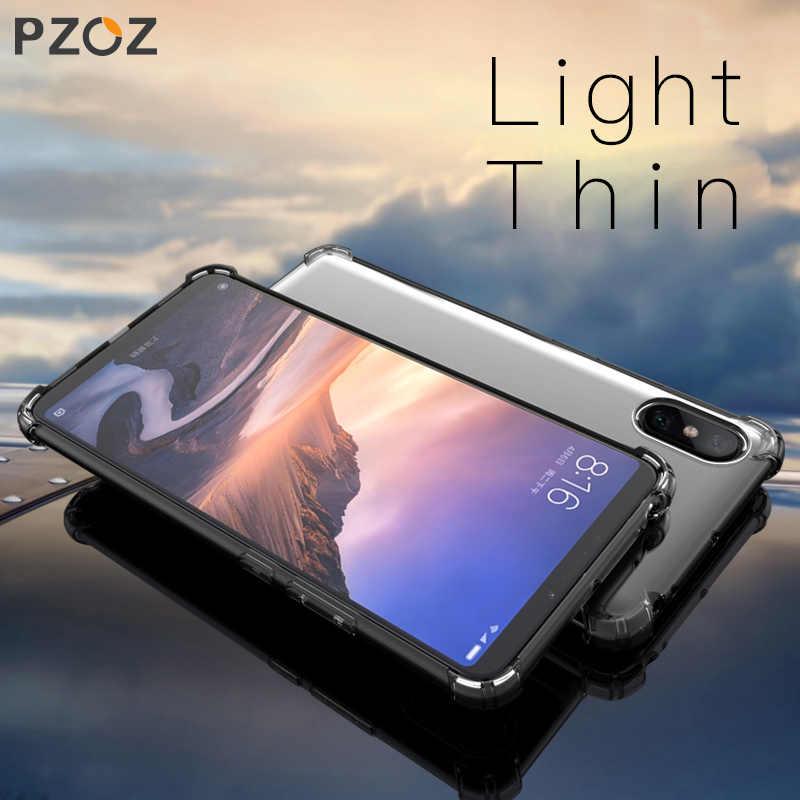 Pzoz untuk Xiao Mi Max 3 2 Mi Max2 Max3 Case Tahan Guncangan Transparan Bening TPU Lembut Silicone Shell Ponsel Perlindungan case Kembali Cover